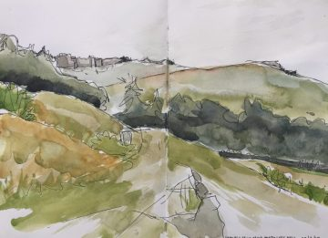 Stanage from above North Lees Hall, Peak district landscape painting, sketch by Sian Hughes Art