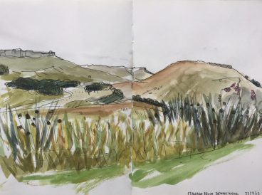 Stanage from Dennis Knoll, Peak district landscape painting, sketch by Sian Hughes Art