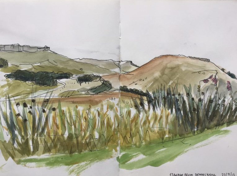 Stanage from Dennis Knoll - Peak district sketch by Sian Hughes Art