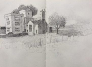 North Lees Hall, Peak district sketch by Sian Hughes Art