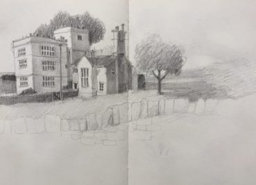 North Lees Hall, Peak district sketch by Sian Hughes Art