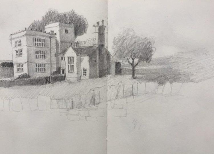 North Lees Hall - Peak district sketch by Sian Hughes Art