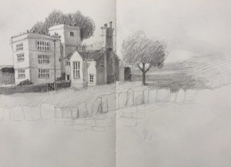 North Lees Hall - Peak district sketch by Sian Hughes Art