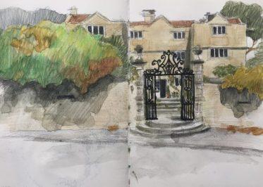 Eyam Hall - Peak District sketch by Sian Hughes