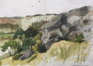 View from Duke's Seat, Longshaw Peak District landscape painting, sketch by Sian Hughes