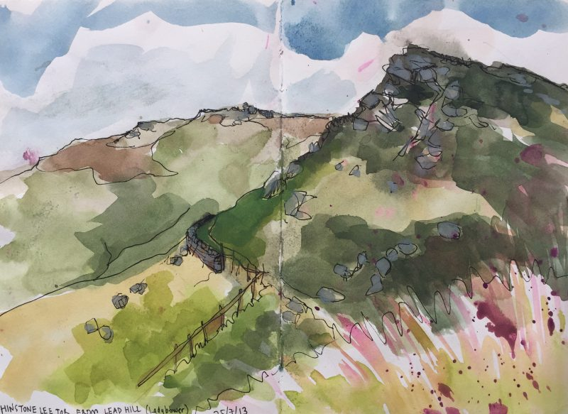 Whinstone Lee Tor from Lead Hill, above Ladybower - Peak District sketch by Sian Hughes