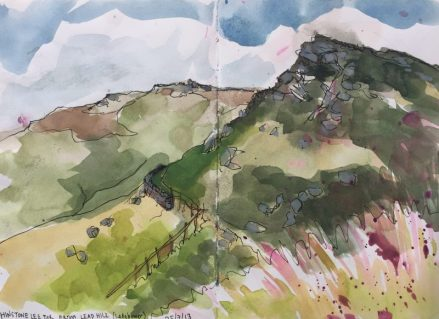 Whinstone Lee Tor from Lead Hill, Ladybower Peak District sketch by Sian Hughes