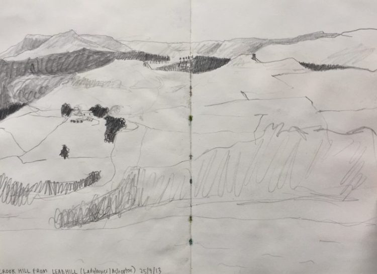 Crook Hill from Lead Hill, above Ladybower - Peak District sketch by Sian Hughes