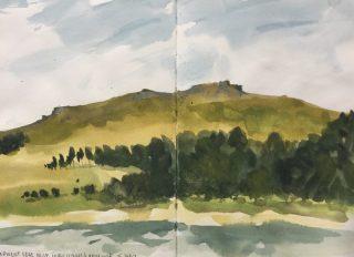 Derwent Edge from Hurst Clough, Ladybower Peak District sketch by Sian Hughes