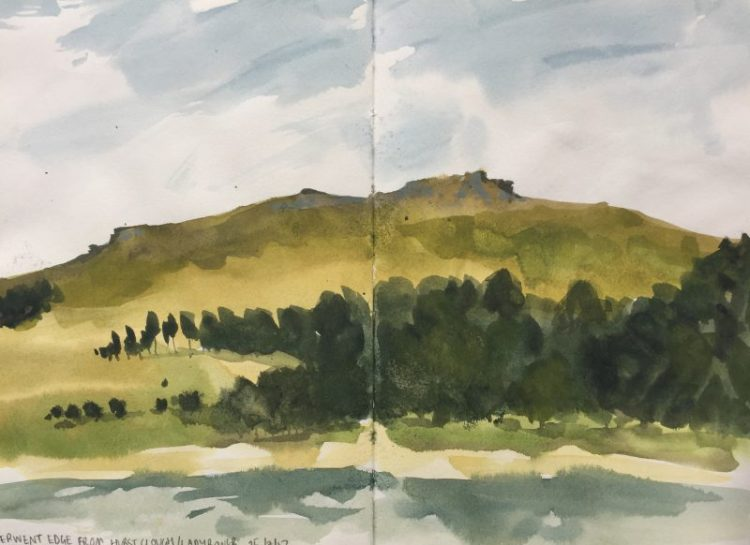 Derwent Edge from Hurst Clough, Ladybower - Peak District sketch by Sian Hughes