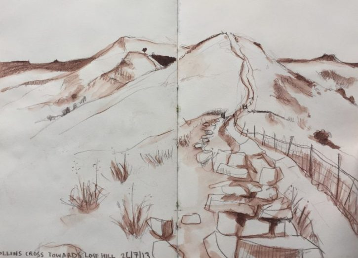 Hollins Cross towards Lose Hill, Castleton - landscape sketch by Sian Hughes Peak District art