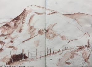 Mam Tor from Barker Bank - Peak District sketch by Sian Hughes