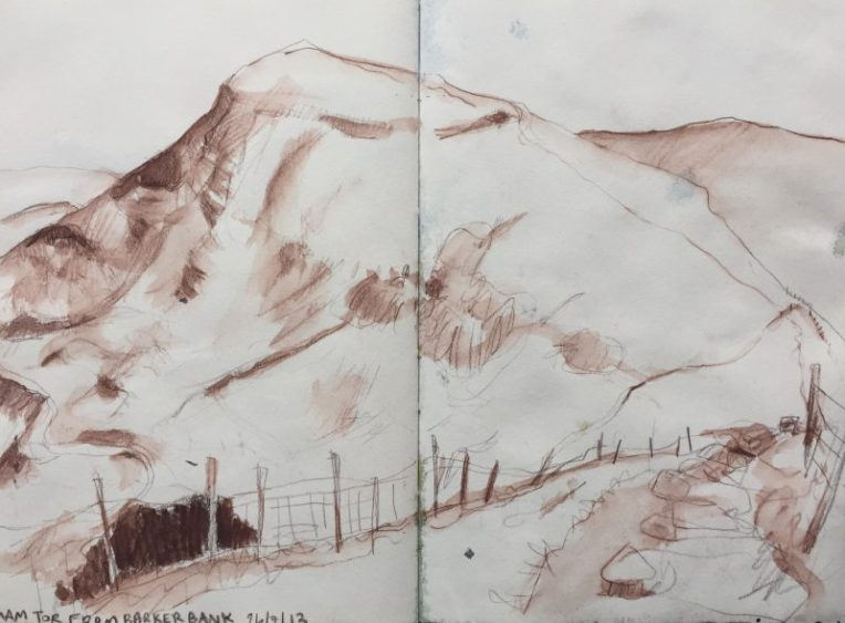Mam Tor from Barker Bank, Castleton - sketch by Sian Hughes Peak District artist