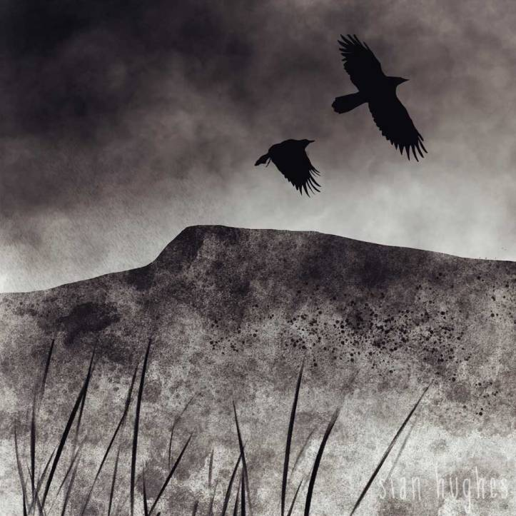 Moorland with crows