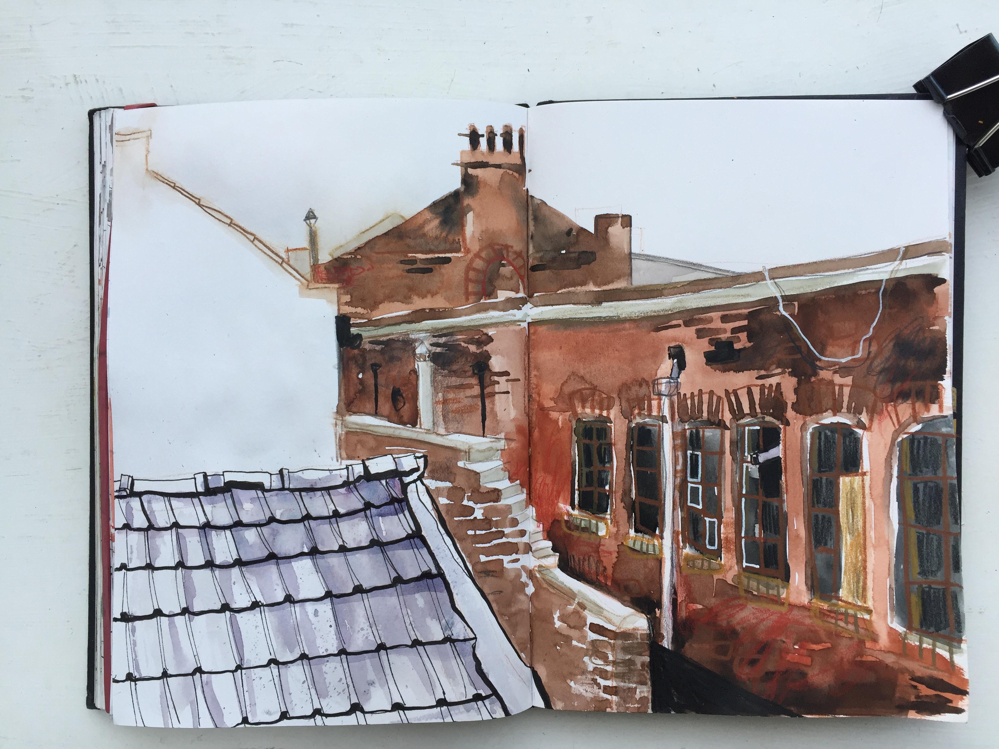 Portland Works, Sheffield - urban sketch by Sian Hughes