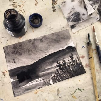 Win Hill from Ladybower original ink art by Sian Hughes