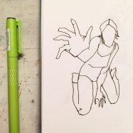 Girl reaching, original ink art by Sian Hughes