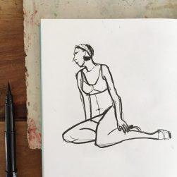 Pensive girl, original drawing by Sian Hughes