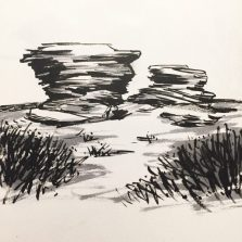 Ox Stones, Houndkirk Moor. Original drawing by Sian Hughes