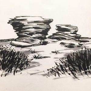 Ox Stones, Houndkirk Moor. Original drawing by Sian Hughes