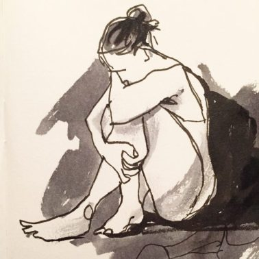 Sad girl seated, original ink drawing by Sian Hughes