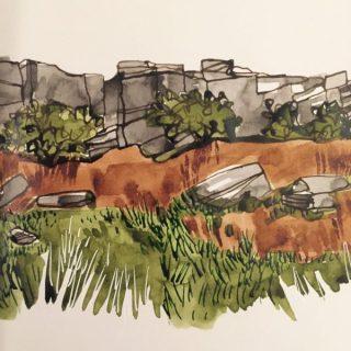 Burbage Edge in Autumn, original ink sketch by Sian Hughes