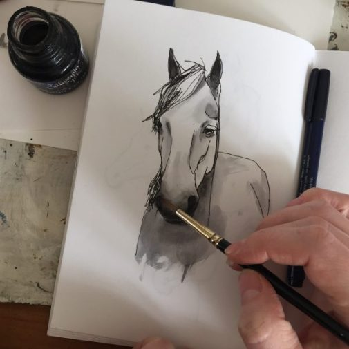 Pony, original ink drawing by Sian Hughes