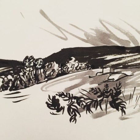 Stanage Edge from Stanage Plantation, original art by Sian Hughes