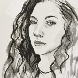 Girl with wavy hair, original ink portrait by Sian Hughes