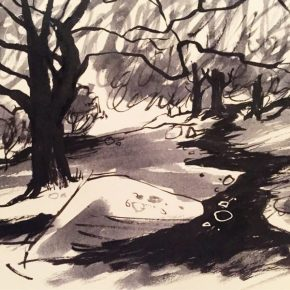 Stanage Plantation, original Peak District art by Sian Hughes