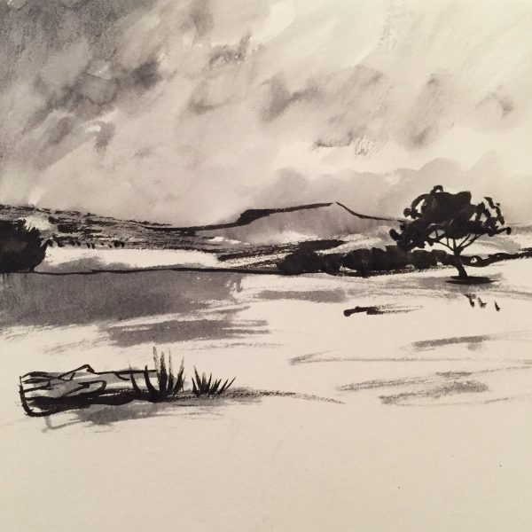 Higger Tor from Longshaw, original Peak District drawing by Sian Hughes
