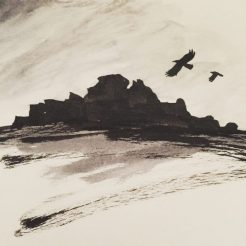 Crows flying over Over Owler Tor, original Peak District art by Sian Hughes