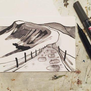 Mam Tor from Barker Bank, original drawing by Sian Hughes artist