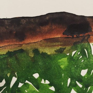 Stanage Edge and High Neb from Stanage Plantation, original ink painting by Sian Hughes