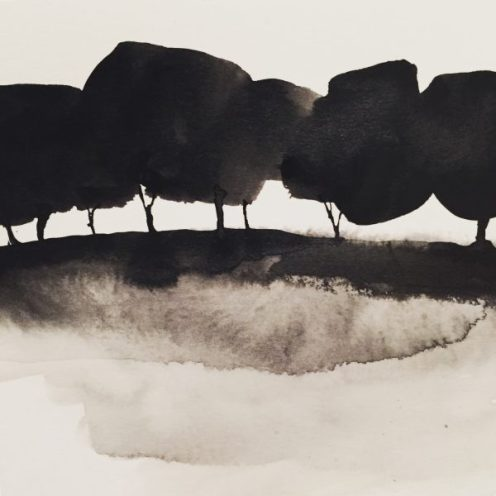 Ink trees, original painting by Sian Hughes
