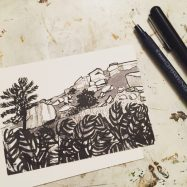 The Pebble under Stanage Edge, original Peak District drawing by Sian Hughes