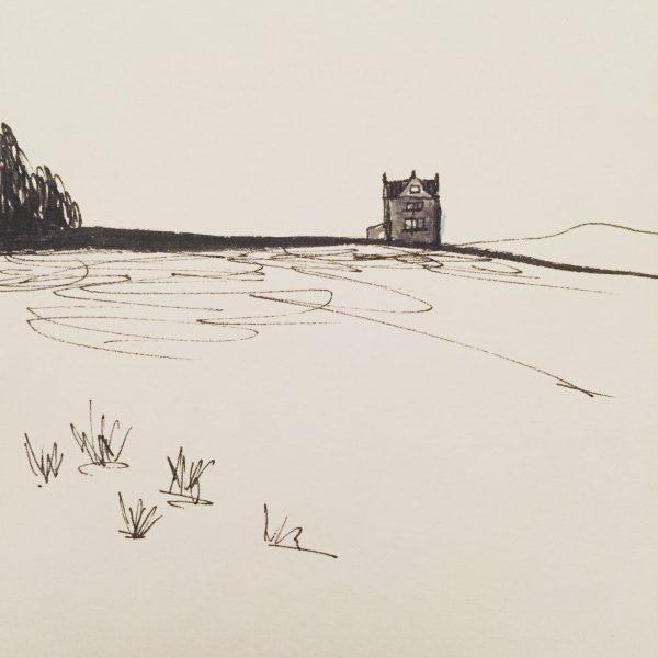 White Edge Lodge, original Peak District drawing by Sian Hughes