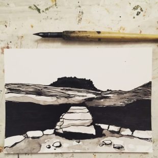Carl Wark from Burbage Brook, original pen and ink sketch by Sian Hughes