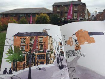 Urban sketching at the Globe Inn, Howard Street Sheffield