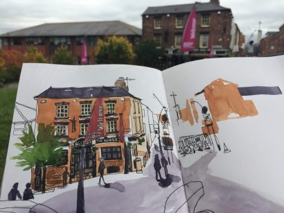 Urban sketching at the Globe Inn, Howard Street Sheffield