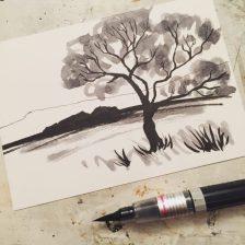 Owler Tor original ink drawing by Sian Hughes