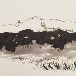 Over Owler Tor from Upper Padley, original ink sketch by Sian Hughes