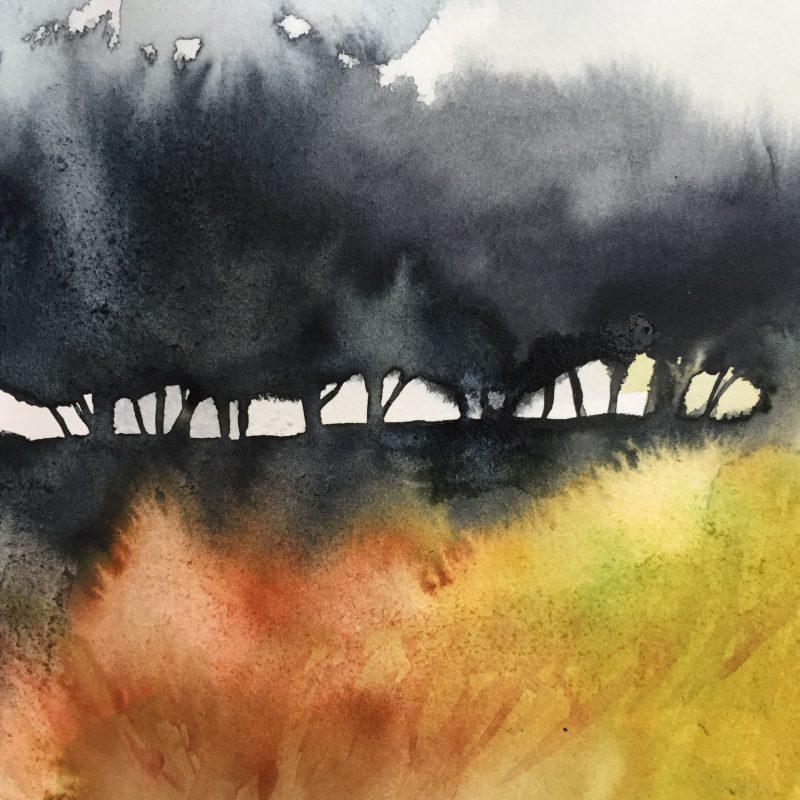 Moorland birch trees gouache sketch by Sian Hughes