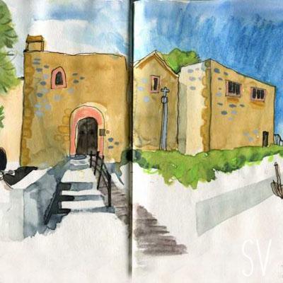 Port Soller Mallorca, Santa Catalina Monastery - sketch by Sian Vernon