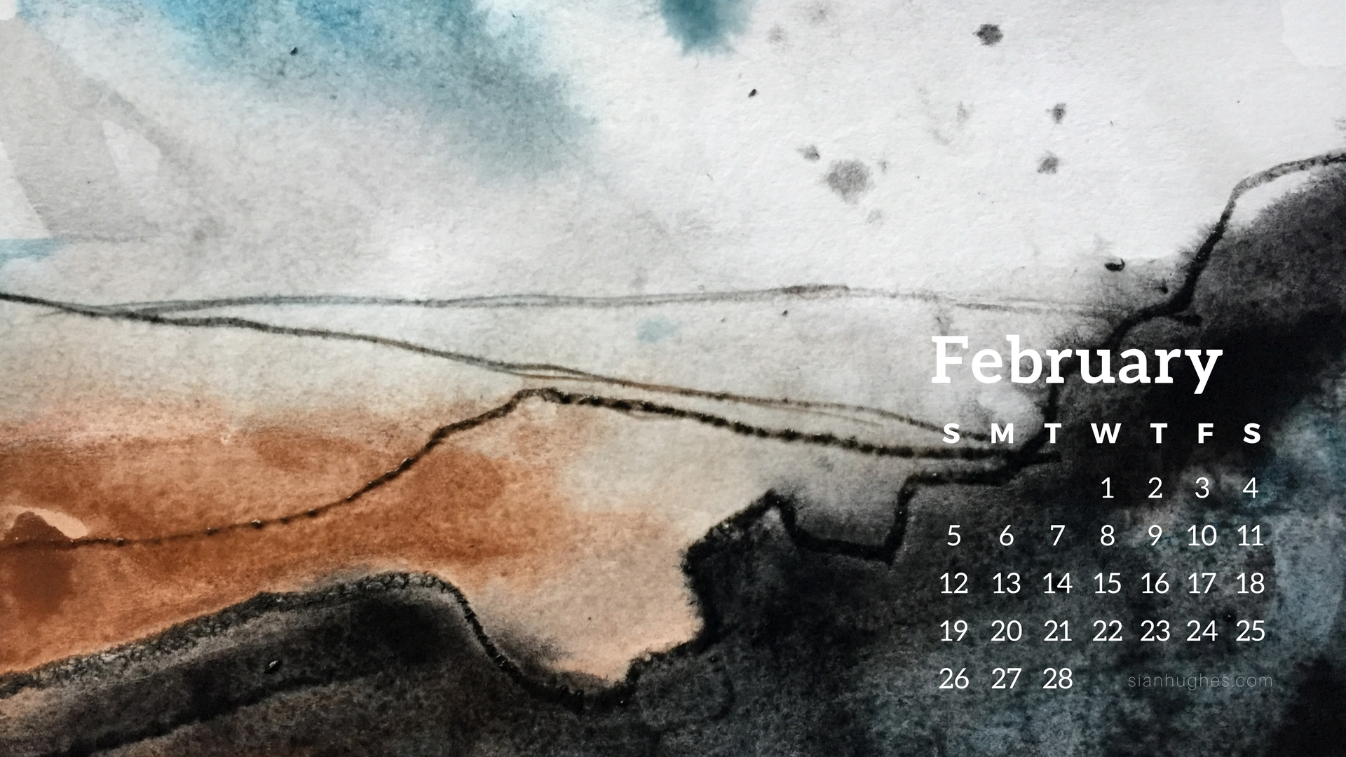 Peak District sketch February desktop wallpaper calendar, free download, by Sian Hughes