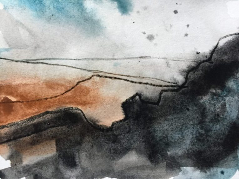Carl Wark from Higger Tor Burbage, original Peak District sketch painting by Sian Hughes
