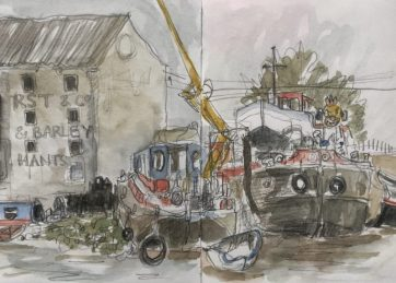 View from The Hepworth Gallery, Wakefield - sketch by Sian Hughes.