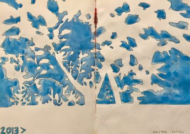Negative space apple tree in summer - original sketch by Sian Hughes