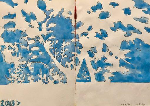 Negative space apple tree in summer - original sketch by Sian Hughes