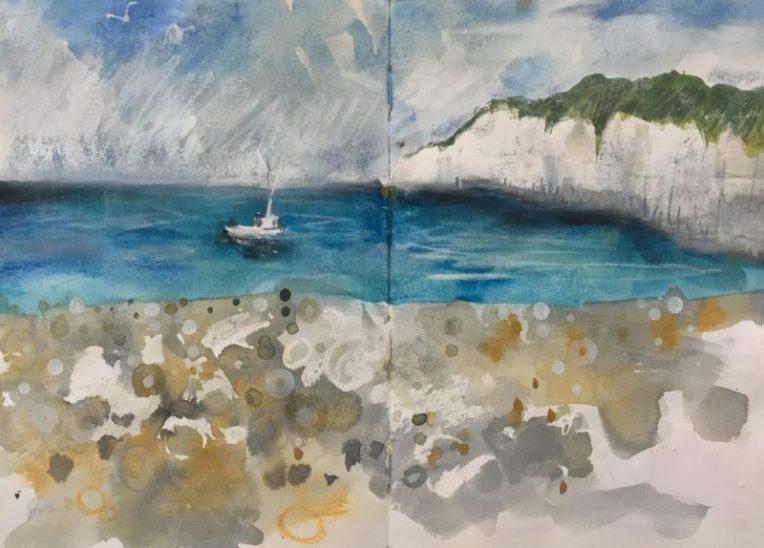 Cliffs at Beer, Devon - sketch by Sian Hughes